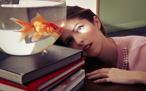 Wallpaper table, books, aquarium, fish, makeup, hairstyle, brown hair, beauty, Anna Kendrick, Anna Kendrick, Eric Ogden, ...