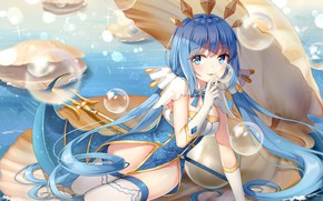 Picture girl, bubbles, sea, weapon, anime, mermaid, shell, bishojo, trident, seabed, japonese, oyster
