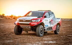 Picture Sunset, Sand, Auto, Sport, Machine, Race, Dirt, Toyota, Hilux, Rally, SUV, Rally, Sport, Toyota, Hilux, …