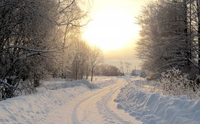 Picture winter, road, village, winter road