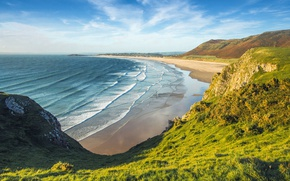 Wallpaper sea, greens, beach, the sky, grass, the sun, clouds, mountains, rocks, coast, England, Wales