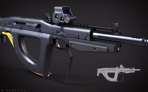 Picture concept, gun, weapon, rifle, bullpup, by drzoidberg96