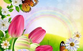 Wallpaper butterfly, flowers, figure, rainbow, tulips, brightness