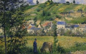 Picture trees, picture, meadow, Camille Pissarro, The landscape in Chaponval