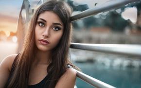 Picture bridge, portrait, makeup, brunette, hairstyle, railings, beauty, bokeh, Marcello de Cenzo, Margerita