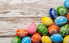 Wallpaper colorful, Easter, happy, wood, spring, Easter, eggs, holiday, the painted eggs