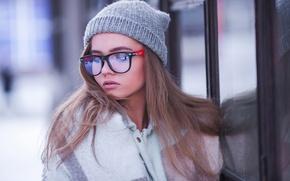 Picture winter, girl, reflection, hat, glasses, Photographer, Mazurkiewicz Maxim