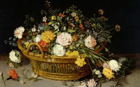 Picture picture, still life, Basket Of Flowers, Jan Brueghel The Younger, Jan Bruegel the Younger