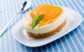 Wallpaper sweets, cake, dessert, cake, sweet, plate, apricot