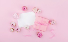 Wallpaper flowers, gift, roses, pink, pink, flowers, beautiful, romantic, present, gift, roses, tender