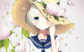 Picture drops, girl, blue eyes, white hair, hydrangea, straw hat, sailor