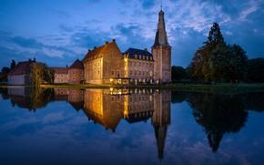 Wallpaper pond, night, lake, the evening, the city, home, light, Park