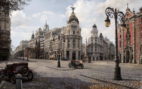 Picture autumn, the city, street, art, Jordi Gonzalez Escamilla, Gran via 1900