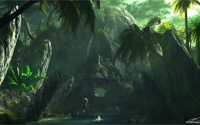 Picture stones, people, construction, jungle, Skull Island