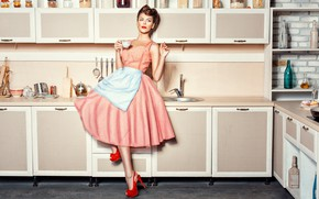 Picture girl, pose, tea, model, kitchen, dishes