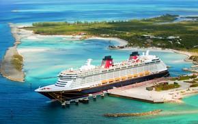 Wallpaper Dream, Passenger, Island, Disney Dream, Pier, The ship, Passenger liner, Disney Cruise Line, Sea, Disney, ...