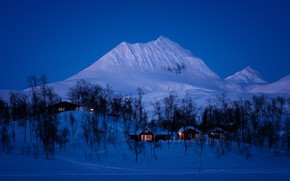 Wallpaper home, Norway, winter, mountains, snow, night
