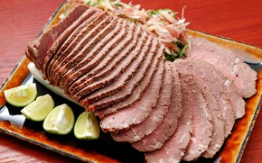 Picture meat, lime, cutting, pork