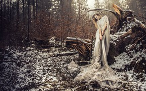 Picture VOODOO Wonderland, pose, snow, the situation, girl, forest, snag, dress