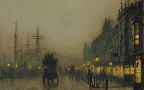 Wallpaper Reekie. Glasgow, night, John Atkinson Grimshaw, John Atkinson Grimshaw, the urban landscape, picture, lights