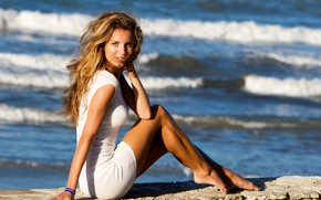 Picture sea, wave, girl, the sun, makeup, figure, dress, hairstyle, surf, legs, beautiful, sitting, in white, …