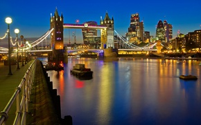 Picture night, lights, river, England, London, Thames, Tower bridge
