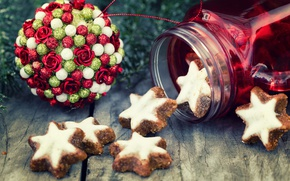 Picture ball, cookies, Christmas, New year, decoration, Christmas, cakes, sweet, New Year, baking