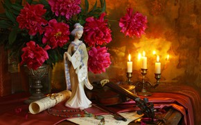 Picture notes, violin, Japanese, candle, bouquet, necklace, figurine, peonies