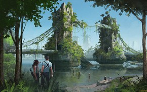 Picture fantasy, tower bridge, post Apocalypse, other times