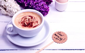 Wallpaper flowers, coffee, morning, Cup, flowers, cup, Good Morning, coffee, lilac