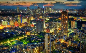 Wallpaper Japan, home, Tokyo, megapolis, the evening, lights