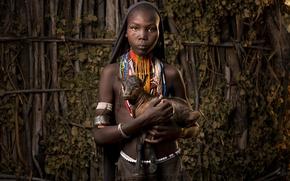 Wallpaper goat, Ethiopia, Africa, Ethiopia, girl