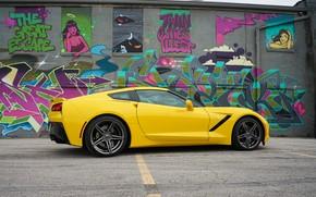 Picture yellow, design, graffiti, Corvette Chevrolet