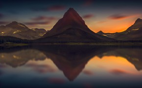 Picture the sky, mountains, reflection, pond