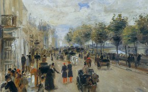 Picture people, home, picture, the urban landscape, Pierre Auguste Renoir, Pierre Auguste Renoir, Paris. Naberezhnaya Malakeh