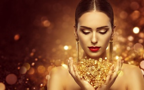 Picture style, makeup, hairstyle, gold, model, luxury, makeup, jewellery, Inara Prusakova