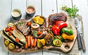 Picture food, chicken, pepper, vegetables, sauce, potatoes, Bulgarian, sausages, grill