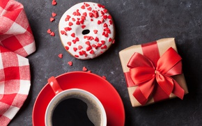 Wallpaper coffee, donut, coffee, hearts, love, gift