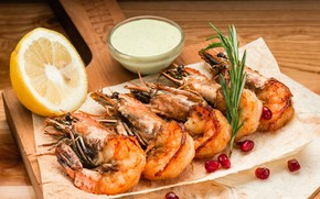 Picture lemon, sauce, shrimp, rosemary