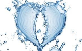 Picture water, pattern, heart, white background