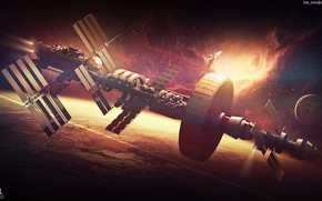 Picture planet, stars, Spaceship concept