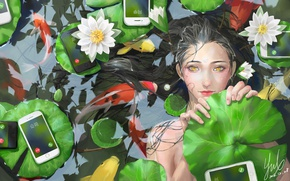 Picture leaves, pond, art, water lilies, iPhone, dewasa, koi