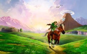 Picture sword, fantasy, game, bird, ken, blade, horse, elf, The Legend of Zelda, Zelda, montain, The …