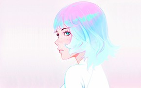 Picture haircut, freckles, profile, blue hair, bangs, portrait of a girl, Ilya Kuvshinov