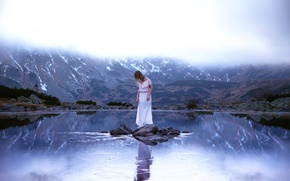 Picture water, girl, mountains, dress, Lichon