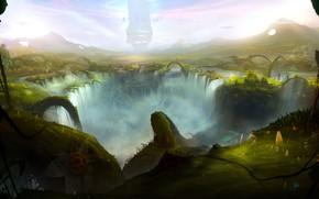 Picture waterfall, Sergey Lesiuk, Sergey Lesyuk, depression, new world