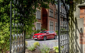 Picture auto, red, gate, Renault, red, Megane, metallic