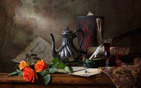 Picture style, art, Still life with teapot and roses, Still life with tea and roses