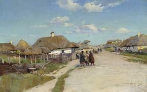 Wallpaper canvas, Sergei Vasilkovsky, landscape, Village Street, oil