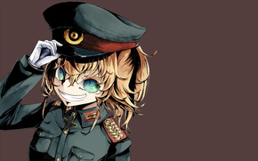 Picture girl, soldier, military, war, anime, chibi, cross, blue eyes, cap, blonde, asian, manga, oriental, asiatic, …